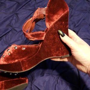 BCBGirls Shoes - BCBG burgundy velvet, studded wedges,